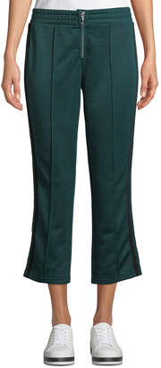Juicy Couture Striped Tricot Zip-Front Cropped Track Pants