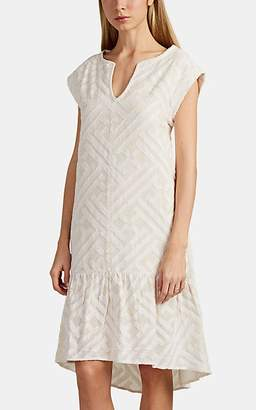 Leo & Sage WOMEN'S COTTON JACQUARD V-NECK SHIFT DRESS - WHITE SIZE M