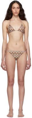 Missoni Multicolor Lurex Zig Zag Triangle Bikini