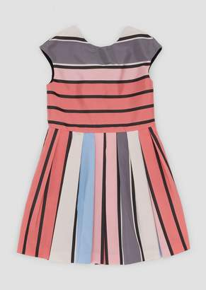 Emporio Armani Flared Dress With Colorful Striped, Pleated Skirt