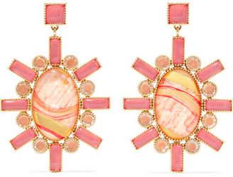 Larkspur & Hawk - Cora 14-karat Gold, Chalcedony And Quartz Earrings