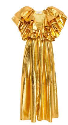 Rodarte Ruffled Metallic Leather Dress