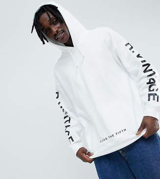 Reclaimed Vintage inspired oversized logo hoodie in white
