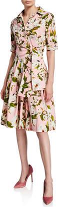 Samantha Sung Claire Sharon Rose Half-Sleeve A-Line Shirtdress
