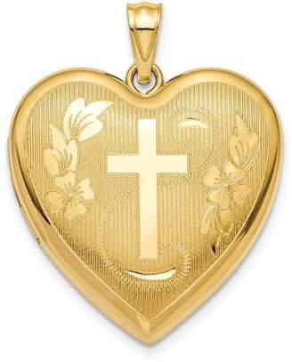 Ash Diamond2Deal 14k Gold 24mm Cross Holder Heart Locket Pendant