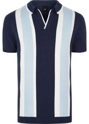 River Island Mens Big and tall blue stripe revere knit polo shirt