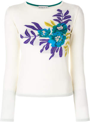 Etro floral intarsia knitted top