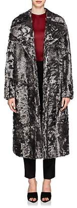 Givenchy Women's Shearling Oversized Coat - Silver