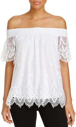 Design History Off-The-Shoulder Lace Top $88 thestylecure.com