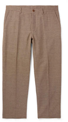 YMC Cropped Checked Cotton-Blend Trousers - Men - Brown