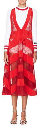 Valentino Sleeveless V-Neck Daisy-Lace Dress with Pleated Insets