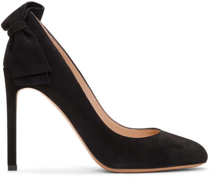 Valentino Black Valentino Garavani Suede Pretty Bow Heels