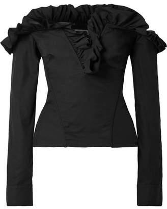 Marques Almeida Marques' Almeida - Off-the-shoulder Ruffled Lace-up Cotton-poplin Top - Black