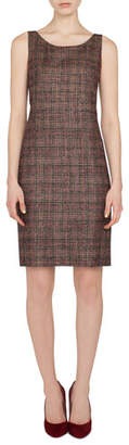 Akris Sleeveless Round-Neck Sheath Plaid Wool-Silk Dress