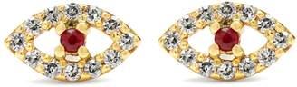 Ileana Makri Diamond, ruby & rose-gold earring