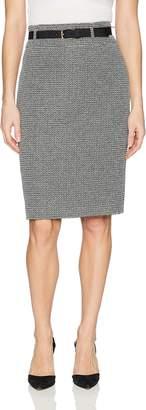 Nine West Women's Tweed Midi Skirt with Belt