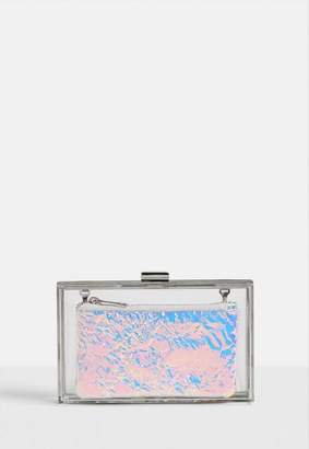 Missguided Pink Holographic Box Clutch Bag