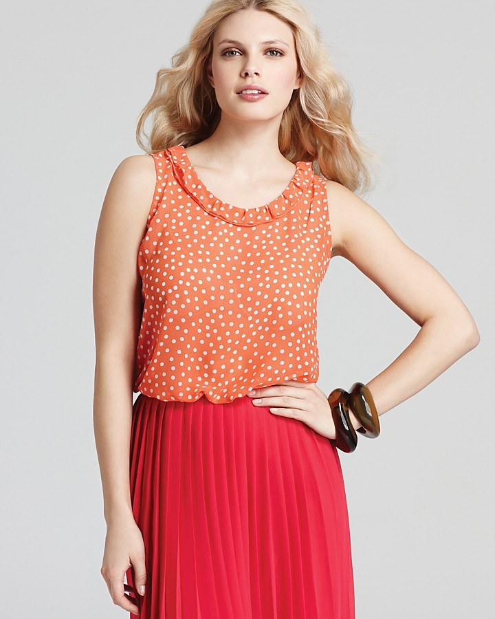 Jones New York Collection A Line Tank with Ruffled Neckline