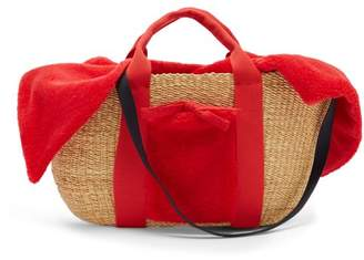 Muun George Shearling And Woven Straw Bag - Womens - Red