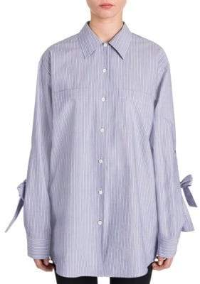 Prada Cotton Bow-Sleeve Button-Down