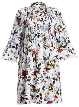 Erdem Women's Reagan Floral Plisse A-Line Shirt Dress - White Multi - Size UK 12 (8)
