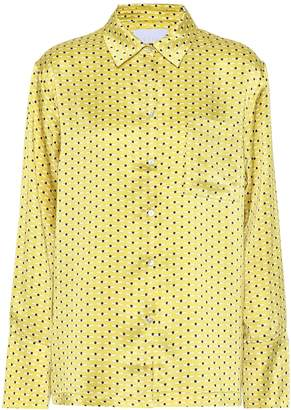 Asceno Printed silk pajama shirt