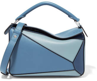 Loewe Puzzle Small Color-block Textured-leather Shoulder Bag - Blue
