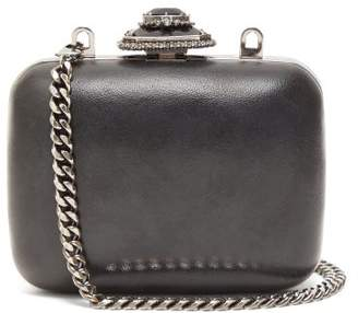 Alexander McQueen Mini Crystal Embellished Leather Clutch Bag - Womens - Black