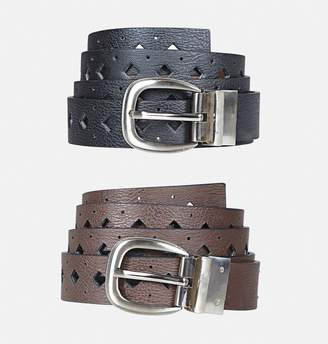 Avenue Diamond Cutout Reversible Belt