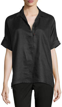 Go Silk Oversized Short-Sleeve Linen Tunic, Petite