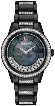 Bulova Women's TurnStyle Crystal Black Ion-Plated Stainless Steel Watch - 98L252