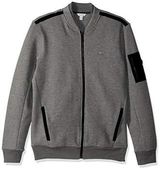 Calvin Klein Men's Long Sleeve Contrast Fabric Blocked Full Zip Bomber