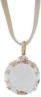 H.Stern 18K Quartz & Diamond Pendant Necklace