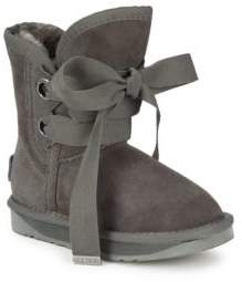 Australia Luxe Collective Girl's Suede Fur-Lined Boots
