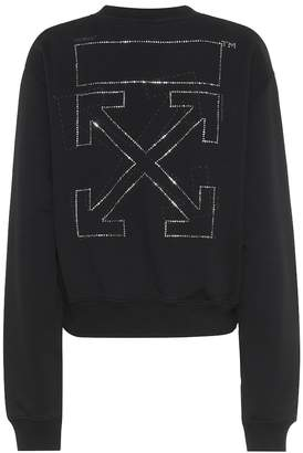Off-White Off White Crystal-embellished cotton sweatshirt