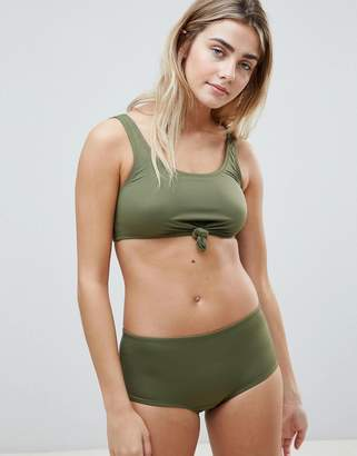Weekday tie front bikini top in khaki green