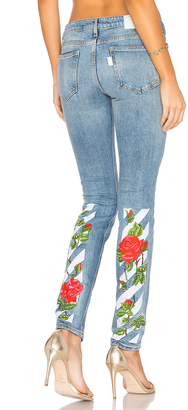 OFF-WHITE Diag Roses 5 Pocket Skinny Jeans $739 thestylecure.com