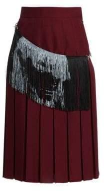 Calvin Klein Women's Fringe Detail Pleated Midi Skirt - Acajou Black - Size 36 (0)
