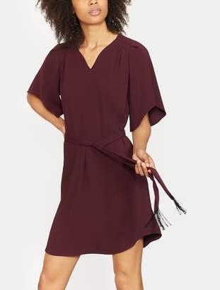 Halston Notch Neck Crepe Dress