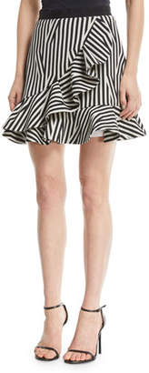 Self-Portrait Abstract-Stripe Flared Ruffle Skirt