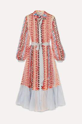 Temperley London Sweetpea Belted Printed Silk-chiffon Shirt Dress - Red