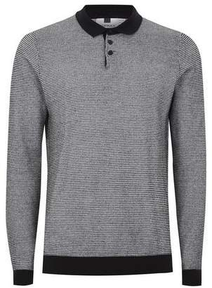 Topman Mens Black And White Textured Knitted Polo