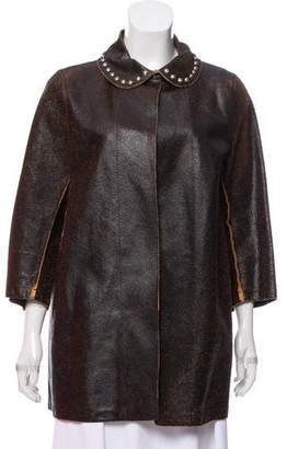 Hache Crackled Leather Jacket