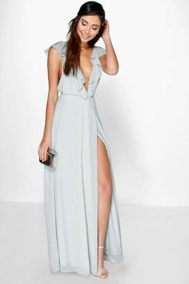 boohoo Daisy Frill Wrap Detail Chiffon Maxi Dress