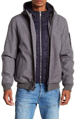 Tommy Hilfiger Soft Shell Contrast Bib Hooded Bomber Jacket