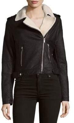 Saks Fifth Avenue Two-Pocket Faux Fur Asymmetric Moto Jacket