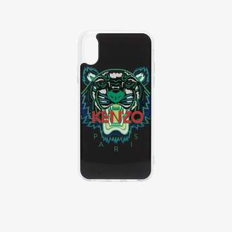 multicoloured tiger logo print iPhone X case
