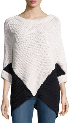 Minnie Rose Colorblock Poncho Sweater, White/Black $151 thestylecure.com