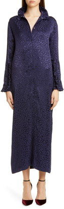 Roseanna Long Sleeve Spot Jacquard Maxi Dress