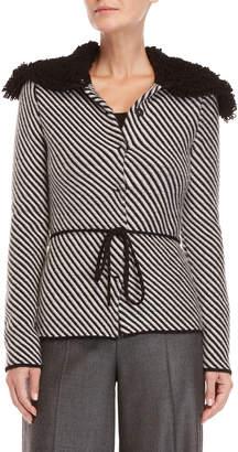 Les Copains Stripe Wool-Blend Knit Jacket